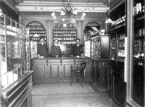 Pharmacies have come a long way.  I like how this neat old one looks.