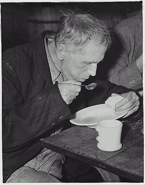 What's old is new again--this old photo illustrates a modern problem (The Volunteers of American Soup Kitchen in Washington, D.C., for the unemployed, 1936. Franklin D. Roosevelt Presidential Library and Museum photograph. Public domain. )
