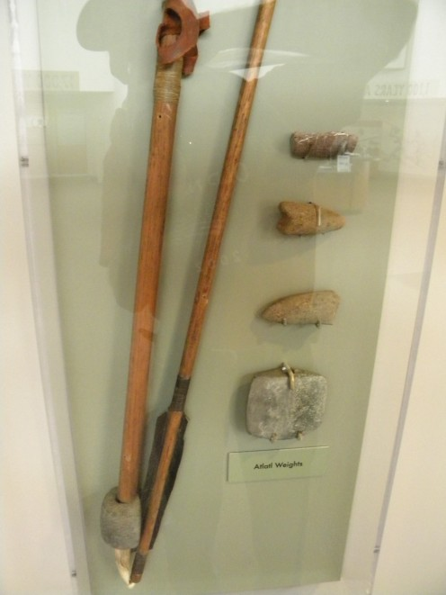 An Atlatl along with the spear and other type banner stones