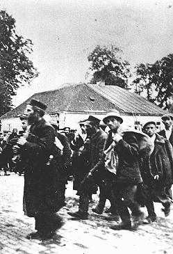 Prisoners arrive at the Belzec extermination camp near Belzec, Poland circa 1942.