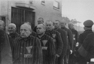 Prisoners arrive at the Sachenhausen concentration camp Sachenhausen, Germany 1943.
