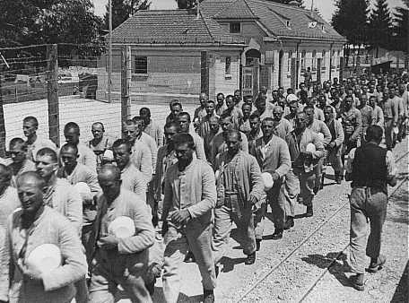 Prisoners at Dachau concentration camp.