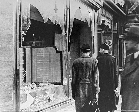 A Jewish shop destroyed during the Kristallnacht pogrom.