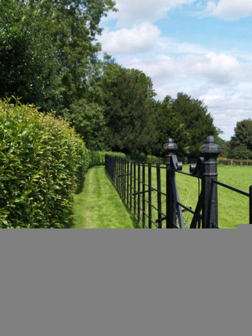 A cast iron gate and fence lines a field at Brodsworth Hall, South Yorkshire, United Kingdom