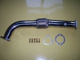 Circuit sports downpipe featuring stainless steel flex section and fatty O2 bung.