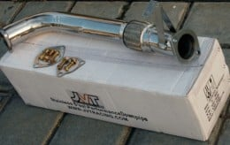 The JVT downpipe is cheap as chips, and is said to fit well.