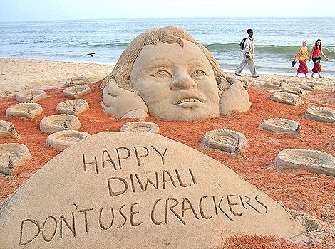 Preaching not to burn crackers in Diwali.