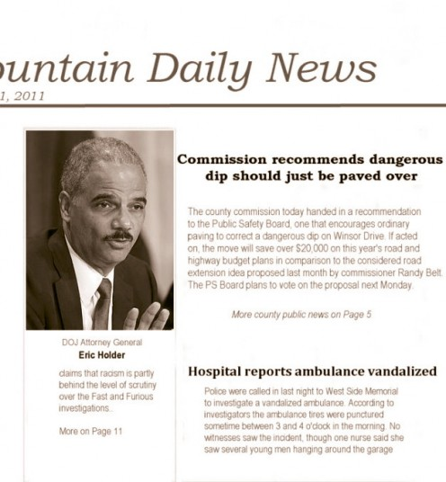 Headline with accompanying Holder photo
