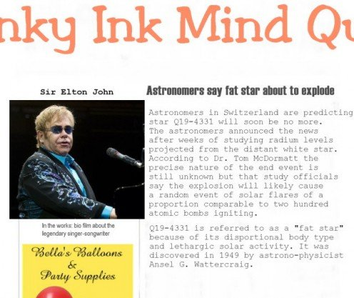 Headline beside photo of Elton John