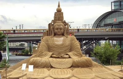 The sand sculpture of Lord Buddha which won the best sand sculpture at the Berlin Sand Art competition.