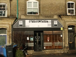 The laid back and extremely popular Workshop cafe/bar on Earlham Road - during good weather customers spill out onto the forecourt tables, although this picture was taken in early January