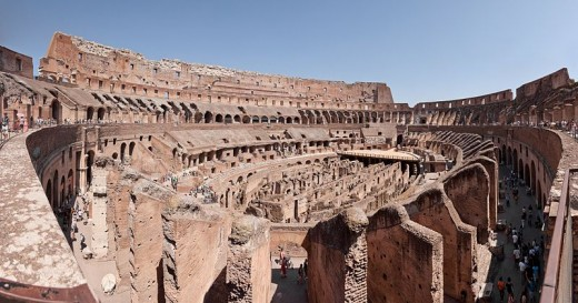 The Roman Colosseum, centre stage of the gladiator battles.