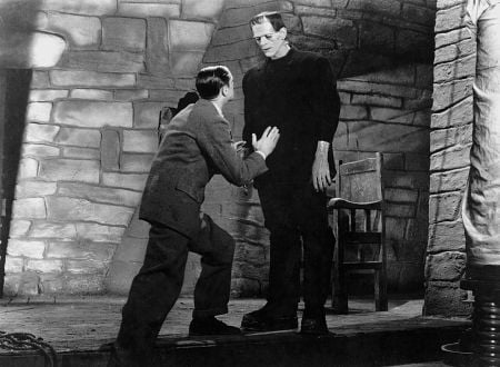 Dr. Henry Frankenstein (Colin Clive) on the left and the monster (Boris Karloff) on the right