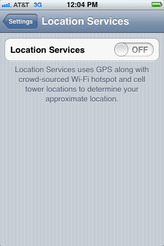 Make sure Location Services is set to OFF.