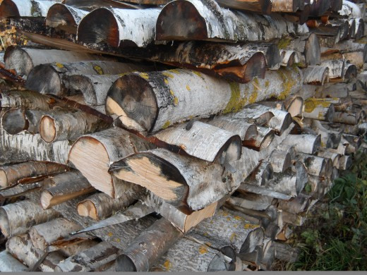 Firewood stacked in alternating layers to improve drying