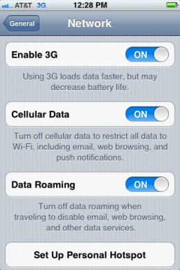 You can enable or disable 3G from the Network screen.