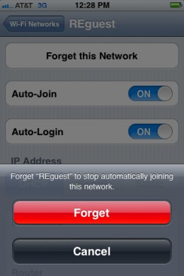 "Tap ""Forget"" after tapping ""Forget this Network"" to forget a Wi-Fi network on your iPhone."