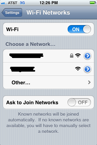 You can enable or disable Wi-Fi at the Wi-Fi screen.