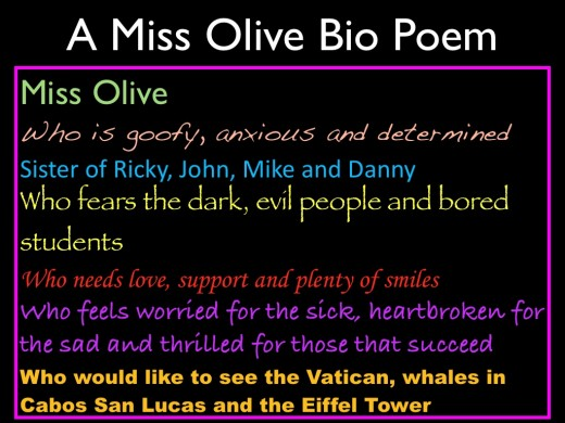 Teaching Characterization With Bio Poems Examples Transitioning