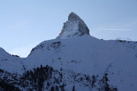 Alpine Panorama,  the Lady Matterhorn peak - view from Riffelberg Express Gondola, Wallis, Switzerland