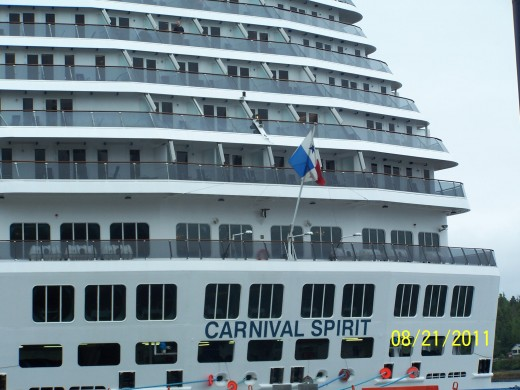 LOOKING AT THE CARNIVAL SPIRIT FROM THE REAR END - 8/21/2011