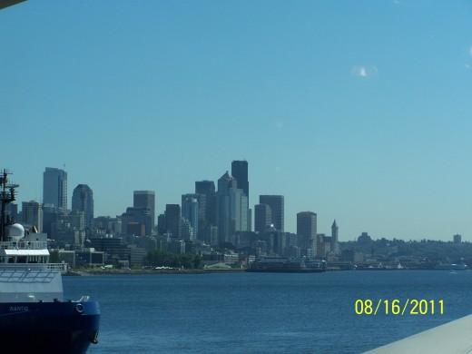 SEATTLE SKYLINE FROM THE CARNIVAL SPIRIT - 8/16/2011