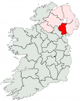 County Armagh highlighted on an outline map of Ireland.