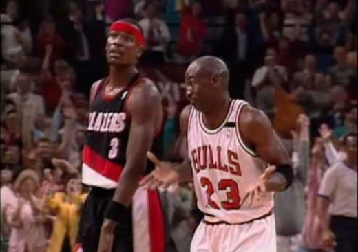 Jordan after hitting his sixth three pointer in the first half against the Blazers