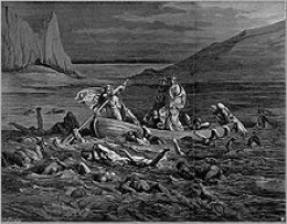 Etching of Gustave Dore.  I always thought it was the River Styx, or the River of Hatred ---  but I just read on a web search that ancient Greek folks believed it was the River Acheron --- the River of Woe --- that Charon crossed.