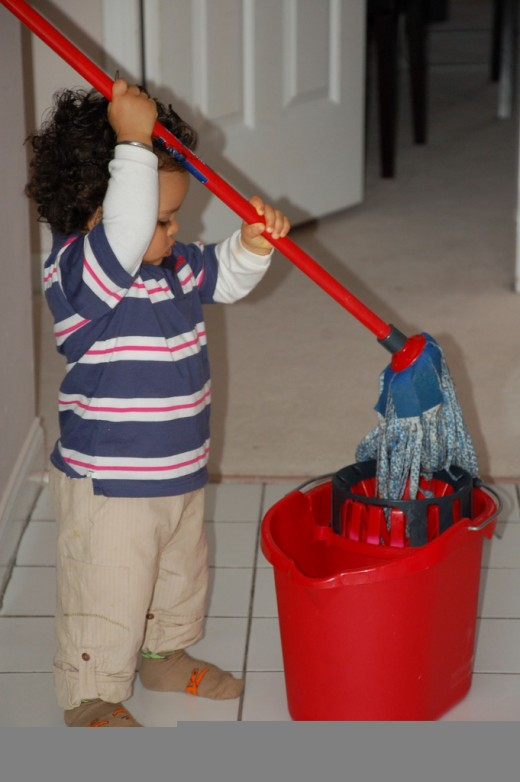 Children love to help with ordinary household tasks, such as sweeping or mopping.