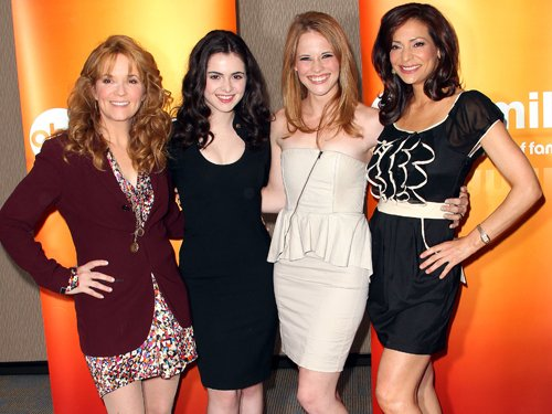 """Marano and Leclerc pose with their TV mothers on """"Switched at Birth."""""""