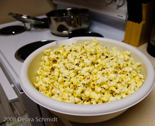 One of two huge bowls of popcorn produced!
