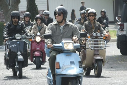 """Hanks joins a scooter gang in """"Larry Crowne."""""""