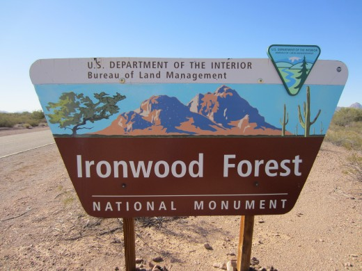 Sign Welcoming Visitors to Ironwood Forest National Monument