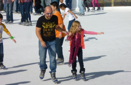 Ice skating at Discovery Green Park in Houston, Texas
