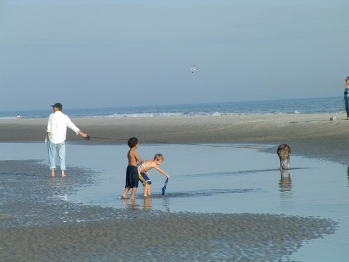 "Kids and dogs love playing in the ""wading pools"" that are left after the high tide receeds. When the sun sets the pools sparkle and shimmer, cutting beautiful shapes into the sand."