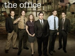 Left to right: Ed Helms, Rainn Wilson, Jenna Fischer, Steve Carell, John Krasinski, B.J. Novak