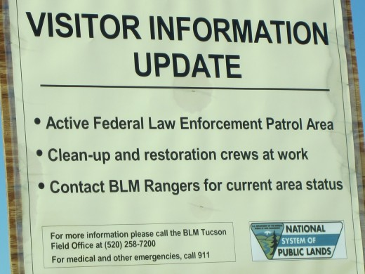 Visitor Update Sign at entrance to Ironwood Forest National Monument