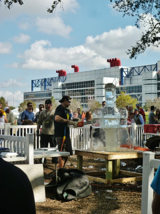 4th annual ice sculpting competition at Discovery Green Park by one dozen ice-sculpture artists.