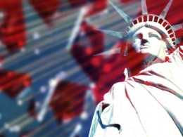 Statue of Liberty with Symbolic Stars and Stripes in the Background