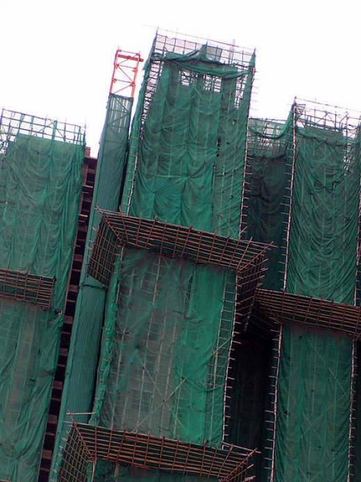 Bamboo scaffolding is safer than steel when it is constructed properly.