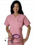 White Swan Fundamentals Unisex V-Neck Solid Nurse Scrub Top - Single Chest Pocket