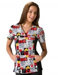Disney Womens Two Pocket Micky In The Mix Scrub Top