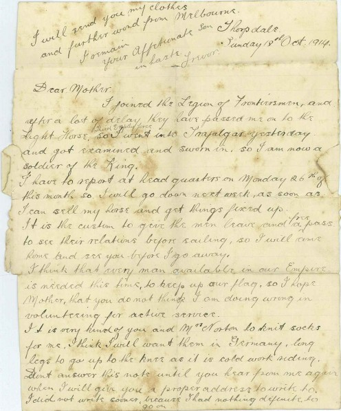 Letter from my great grandfather, Reginald Trevor, to his mother telling her of his enlistment and reasons for joining up.