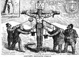 The perfect target for all parties, as illustrated in this 1896 political cartoon from the USA, blatant in its anti-Semitic stereotyping and nod to conspiracy theory