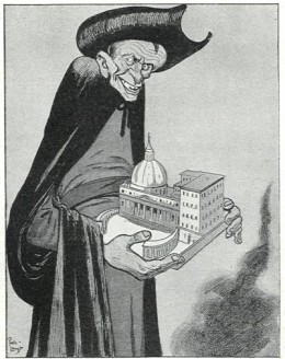 A anti-Jesuit cartoon from 1902 showing the Society of Jesus in control of the Vatican