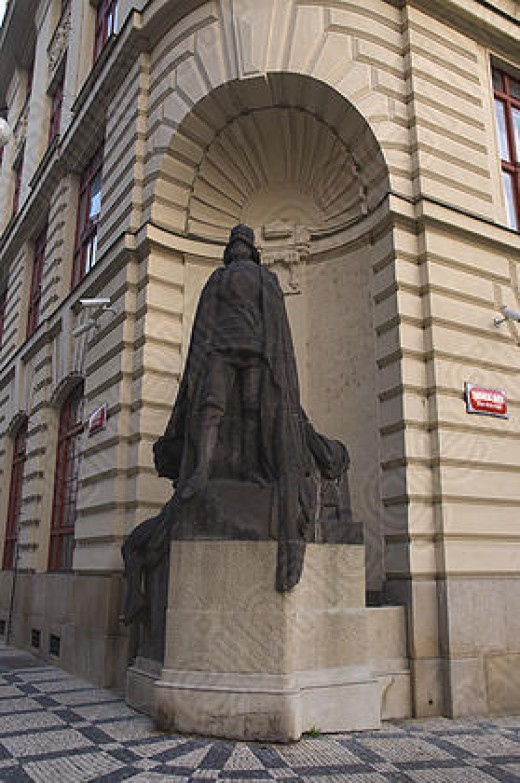 A statue of Rabbi Loew in Prague