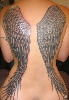 A good example of a full sized angel wing tattoo