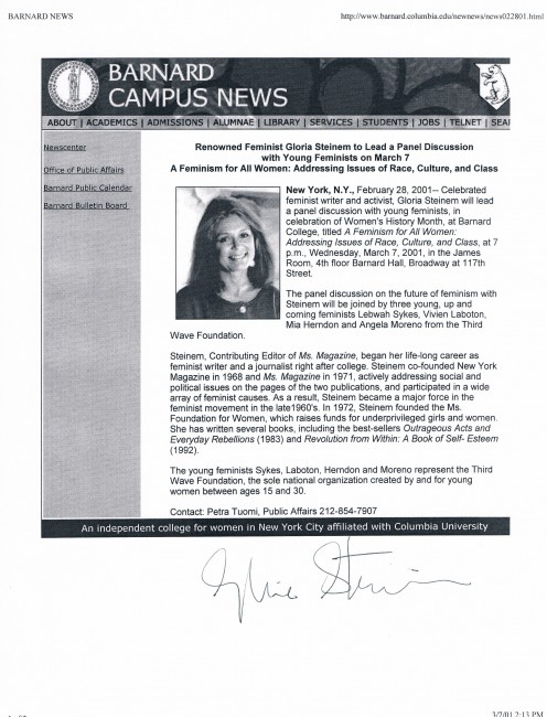 Announcement I found online, signed by Glora Steinem.