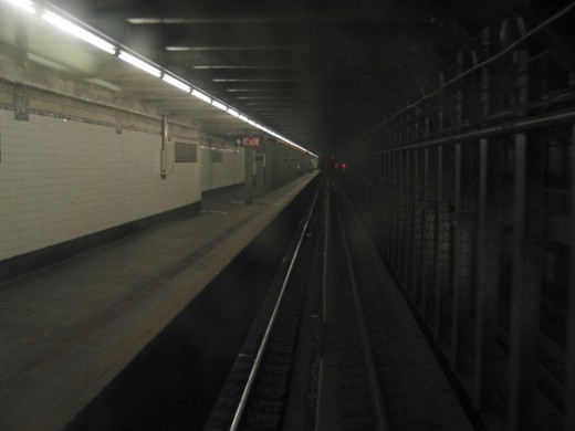 A long walk from the tunnel to the platform.